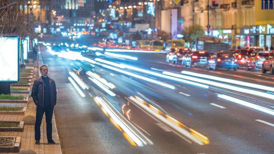 Traffic on busy street