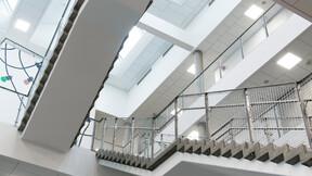 Fredriksbjerg skole,Denmark,Aarhus,13.700 m²,Henning Larsen Architects A/S,GPP Arkitekter,Møller & Grønborg,Kari Moseng,Aarhus Kommune,Awarded the School Building of the Year 2016,Denmark,Svend Christensen,ROCKFON Sonar,M-edge,1200x600,white,Chicago Metallic T24 Click 2890